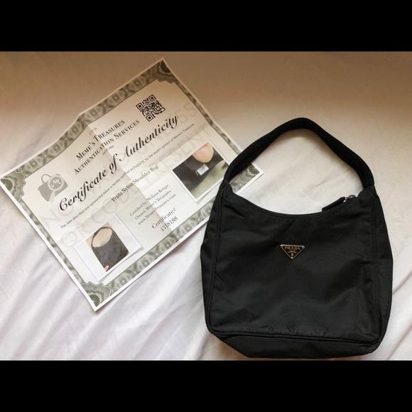 1919350040714b Auth Black Prada Handbag Purse Small Pouchette Bag.  M_5b7e3c272830958697e25fe9